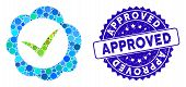 Mosaic Approved Stamp Icon And Corroded Stamp Seal With Approved Phrase. Mosaic Vector Is Created Fr poster