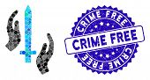 Mosaic Classic Guard Icon And Rubber Stamp Seal With Crime Free Phrase. Mosaic Vector Is Formed With poster