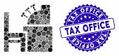 Mosaic Accounting Office Icon And Rubber Stamp Seal With Tax Office Phrase. Mosaic Vector Is Formed  poster