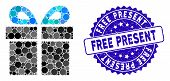 Mosaic Present Icon And Grunge Stamp Seal With Free Present Text. Mosaic Vector Is Formed With Prese poster