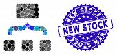 Mosaic Combine Items Icon And Distressed Stamp Seal With New Stock Caption. Mosaic Vector Is Formed  poster