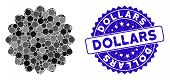 Mosaic Award Seal Icon And Rubber Stamp Watermark With Dollars Caption. Mosaic Vector Is Created Fro poster