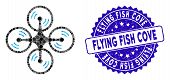 Mosaic Flying Quadcopter Icon And Distressed Stamp Seal With Flying Fish Cove Text. Mosaic Vector Is poster