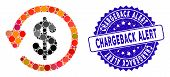 Mosaic Chargeback Icon And Corroded Stamp Seal With Chargeback Alert Caption. Mosaic Vector Is Compo poster