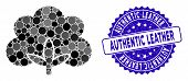 Mosaic Cotton Flower Icon And Rubber Stamp Seal With Authentic Leather Text. Mosaic Vector Is Formed poster