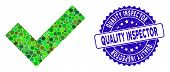 Mosaic Check Tick Icon And Grunge Stamp Seal With Quality Inspector Caption. Mosaic Vector Is Compos poster