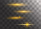 Set Of Flashes, Lights And Sparks. Golden Lights Effects Isolated On A Transparent Background. Brigh poster
