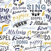 Seamless Pattern With Hand Lettering Words Sing To The Lord, Alleluia, Rejoice, Song, Gospel Music poster