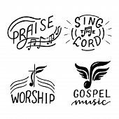 Set With 4 Hand Lettering Logo Sing The Lord, Praise, Worship, Gospel Music. poster