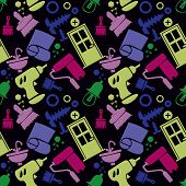Seamless Pattern With Tools, Carpentry Tools, Repair Tools, Construction. Colored Icons, Black Backg poster