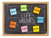 possible life values  - career, family, wealth, love, friends, health, wisdom, white chalk with stic