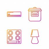 Set Line Table Lamp , Gas Stove , Air Conditioner And Slow Cooker . Gradient Color Icons. Vector poster