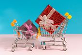 Shopping Cart. Shopping Cart With Colorful Gift Boxes, Presents The Concept Of The Shopping, Place F poster