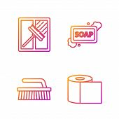 Set Line Toilet Paper Roll , Brush For Cleaning , Squeegee, Scraper, Wiper And Bar Of Soap With Foam poster