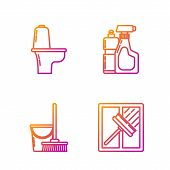 Set Line Squeegee, Scraper, Wiper, Mop And Bucket , Toilet Bowl And Plastic Bottles For Liquid Dishw poster