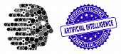 Collage Artificial Intelligence Icon And Rubber Stamp Seal With Artificial Intelligence Caption. Mos poster