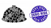 Mosaic Builder Helmet Icon And Grunge Stamp Seal With Zero Risk Caption. Mosaic Vector Is Composed W poster