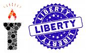 Mosaic Fire Torch Light Icon And Corroded Stamp Seal With Liberty Phrase. Mosaic Vector Is Created W poster