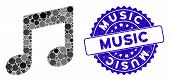 Mosaic Music Icon And Distressed Stamp Seal With Music Text. Mosaic Vector Is Composed With Music Ic poster