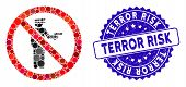 Mosaic No Police Gun Icon And Distressed Stamp Watermark With Terror Risk Text. Mosaic Vector Is Cre poster