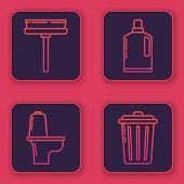 Set Line Squeegee, Scraper, Wiper, Toilet Bowl , Plastic Bottles For Liquid Dishwashing Liquid And T poster