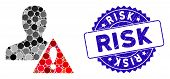 Mosaic User Risk Management Icon And Rubber Stamp Seal With Risk Caption. Mosaic Vector Is Formed Wi poster