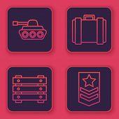 Set Line Military Tank , Military Ammunition Box, Military Ammunition Box And Chevron . Blue Square  poster