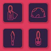 Set Line Military Dog Tag , Military Knife , Military Helmet And Military Dog Tag . Blue Square Butt poster