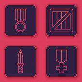 Set Line Military Reward Medal , Military Knife , Military Ammunition Box And Military Reward Medal  poster