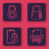 Set Line Safe Combination Lock Wheel , Smartphone With Closed Padlock , Safe Combination Lock And Pa poster