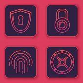 Set Line Shield With Keyhole , Fingerprint , Safe Combination Lock Wheel And Safe . Blue Square Butt poster