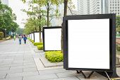 Empty Large White Advertising Billboard With Abstract Blur Background poster