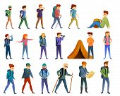 Hiking Icons Set. Cartoon Set Of Hiking Vector Icons For Web Design poster