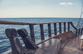 Sea/ocean View From The Front Of Old Wooden Ship. The Bow Of A Vintage Ship. The Side Of An Ancient  poster