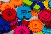 Plastic Parts Designer. The Mechanism Of Plastic Blocks. Colorful Blocks Designer. Development And E poster