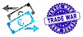 Mosaic Banknotes Exchange Icon And Rubber Stamp Seal With Trade War Text. Mosaic Vector Is Designed  poster