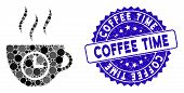 Collage Coffee Time Icon And Grunge Stamp Seal With Coffee Time Caption. Mosaic Vector Is Formed Wit poster