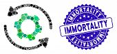 Mosaic Infinite Rotation Icon And Grunge Stamp Watermark With Immortality Text. Mosaic Vector Is Des poster