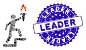 Mosaic Leader Climb With Torch Icon And Distressed Stamp Seal With Leader Phrase. Mosaic Vector Is F poster