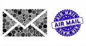 Mosaic Mail Icon And Grunge Stamp Seal With Air Mail Phrase. Mosaic Vector Is Created From Mail Pict poster