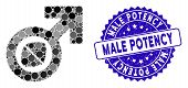 Mosaic Male Potency Tablet Icon And Distressed Stamp Seal With Male Potency Phrase. Mosaic Vector Is poster