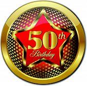 Golden 50 Th Birthday button