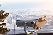 Stationary Binoculars On The Observation Deck In The Altai Mountains In Winter With Snow And Beautif poster