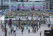 Soccer Fans Go To The Olympic Stadium
