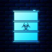 Glowing Neon Biological Hazard Or Biohazard Barrel Icon Isolated On Brick Wall Background. Radioacti poster