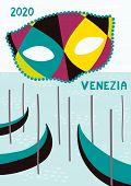 Hand Drawn Vector Illustration With Colorful Carnival Mask, Gondolas In Venice, Italian Text Venezia poster