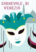 Hand Drawn Vector Illustration With Jester Carnival Mask, Gondolas In Venice, Italian Text Carnevale poster