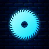 Glowing Neon Circular Saw Blade Icon Isolated On Brick Wall Background. Saw Wheel. Vector Illustrati poster