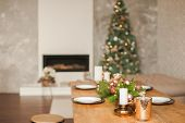 Christmas Living Room Decor And Copy Space. Rustic Living Room With A Table Set For Christmas. Detai poster
