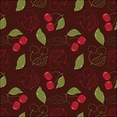 Ornate cherry pattern isolated on a broun background.
